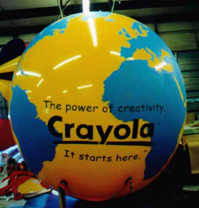 Globe helium balloon with Crayola logo